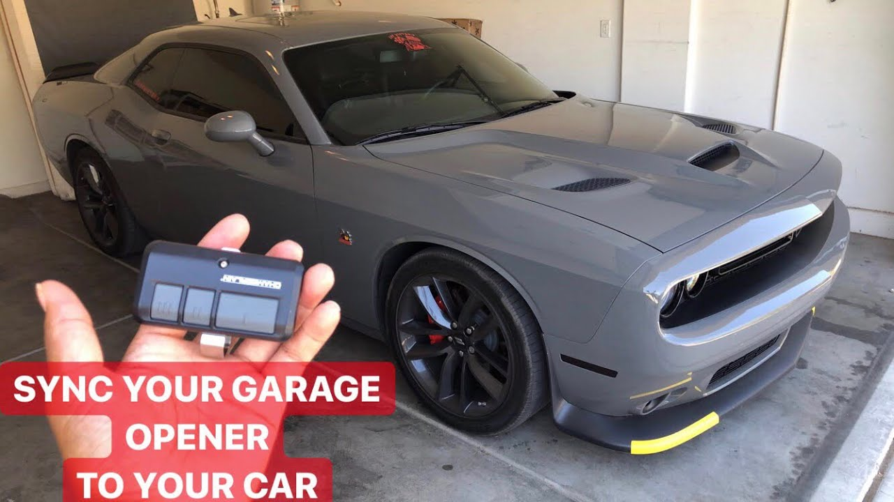 How To Program Your Garage Door Opener To Your Dodge Challenger Charger Other Cars As Well Youtube