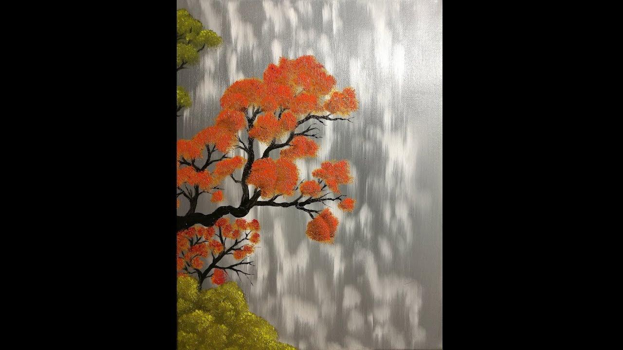 Vieil Arbre Orange Huile Sur Toile Youtube