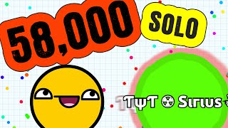 58,000 Mass SOLO // Instant Merging Agar.io Gameplay