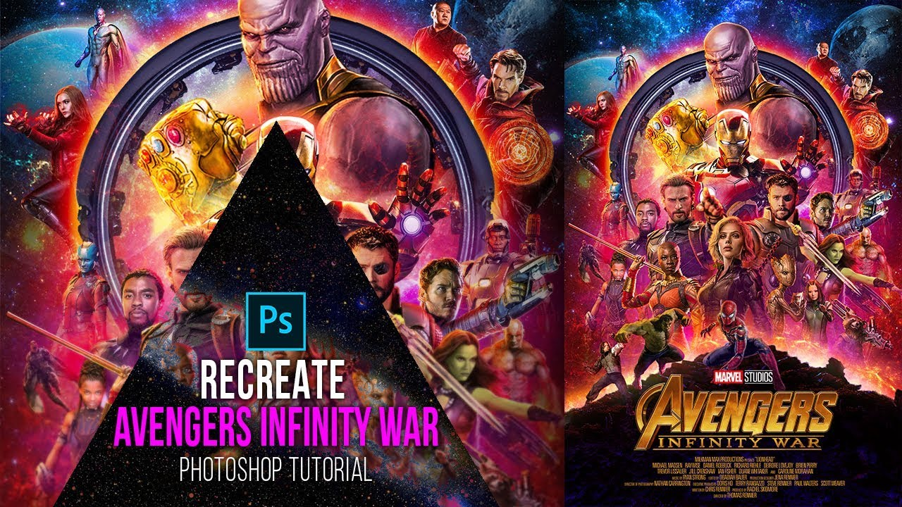 Movie Poster 2019: Avengers Infinity War Poster- Photoshop CC Tutorial
