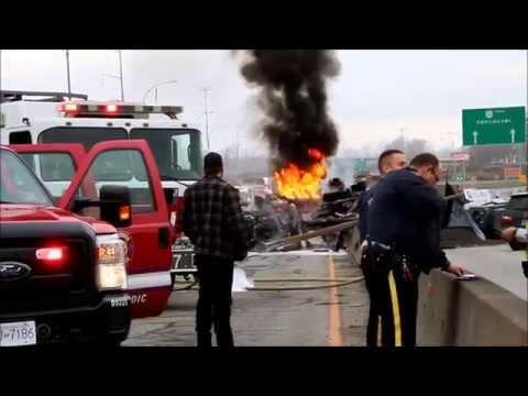 Dump Truck Rolls & Catches Fire Killing 1
