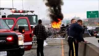 Dump Truck Rolls & Catches Fire Killing 1
