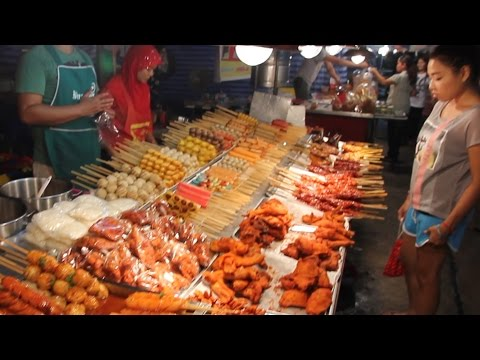 Street Food & Shopping at a Local Market in Thailand. A Walk Around a Thai Food Market in Phuket