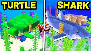SHARK HOUSE vs. TURTLE HOUSE! - MINECRAFT