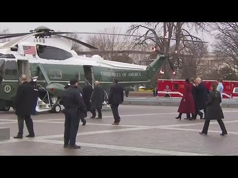 Former President Obama gives a final salute before leaving Washington DC