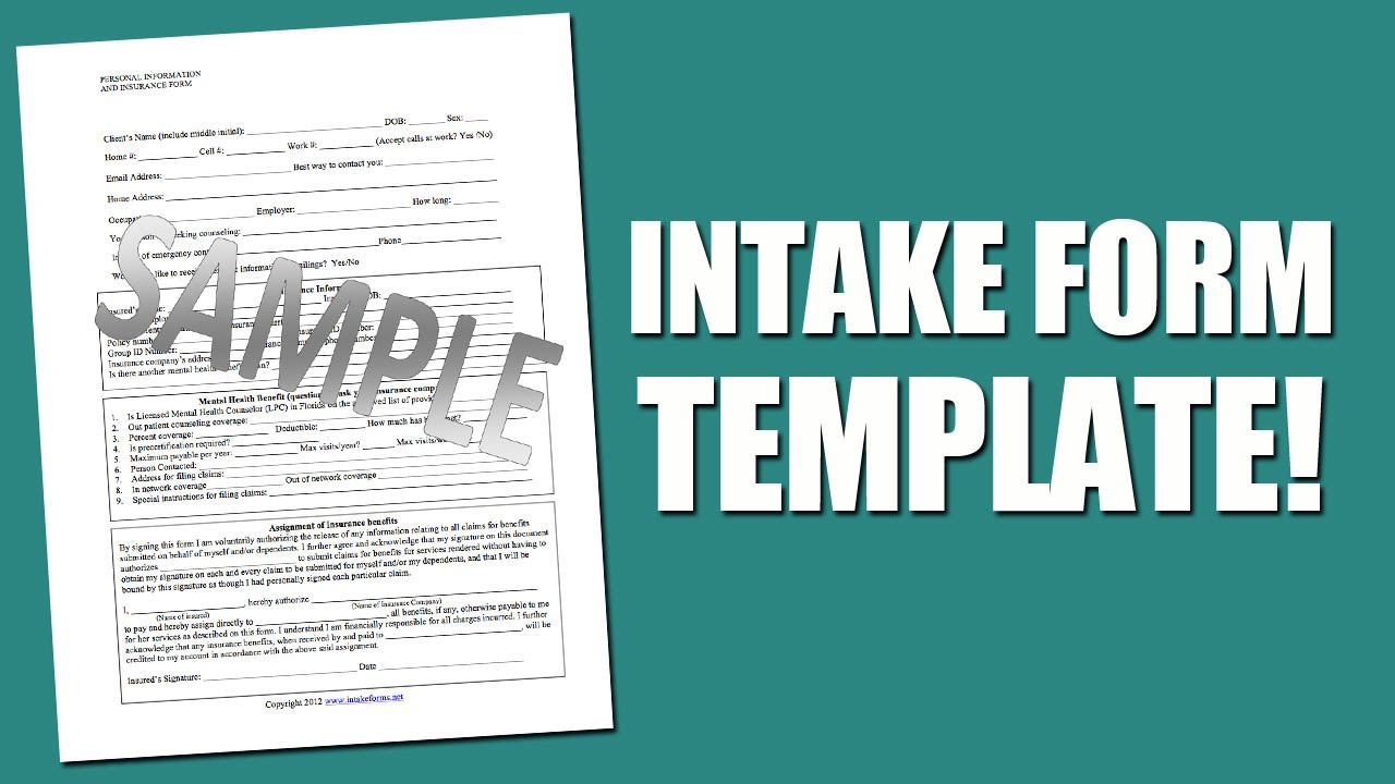 Best Intake Form Template For Mental Health Assessment   YouTube  Assessment Forms Templates