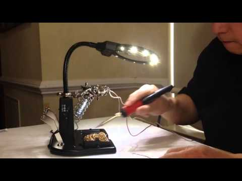 pro line helping hands soldering station w illuminated magnifier 15w soldering iron youtube. Black Bedroom Furniture Sets. Home Design Ideas