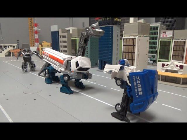 청소차 로봇, 기름탱크 로봇을 막아라! Sweeper robot, Stop the oil tank robot!