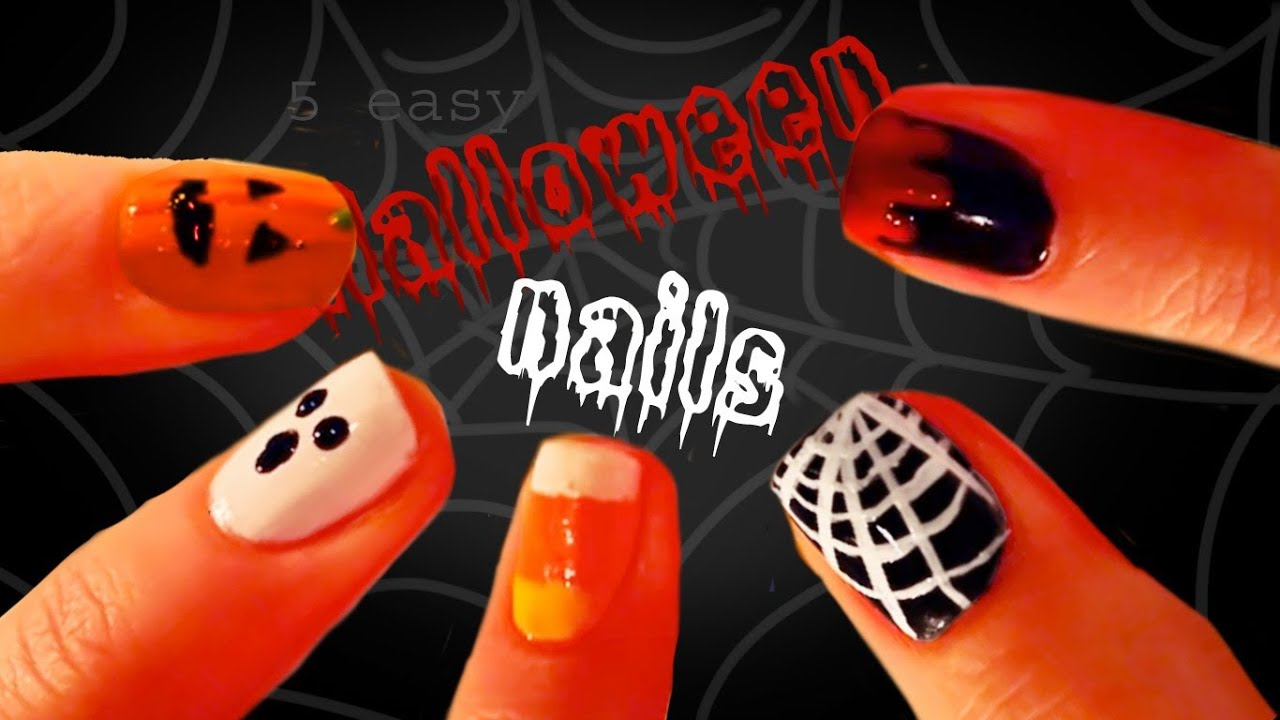 5 easy halloween nail designs youtube 5 easy halloween nail designs solutioingenieria Images