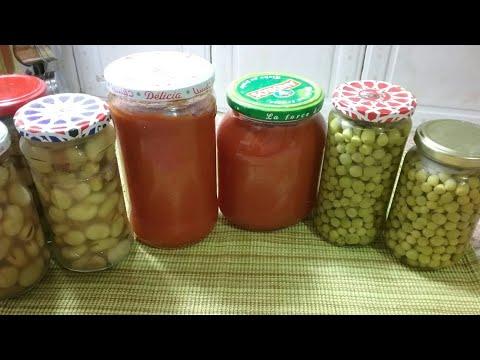 طريقة تصبير البازلاء والفول الأخضر وصلصة الطماطم