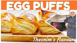 EGG PUFFS/crispy, layered perfect puffs/bakery style/Thesnim's flavours/most requested Video