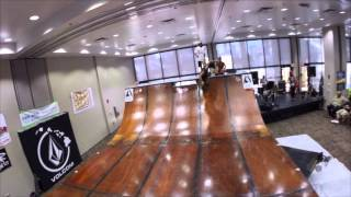 Old Man Skateboarding On 6ft Half Pipe
