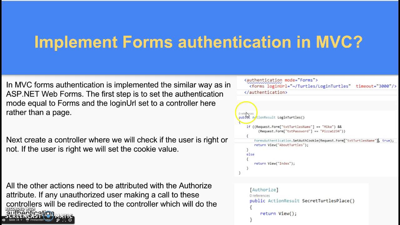 Implement Forms authentication in MVC?