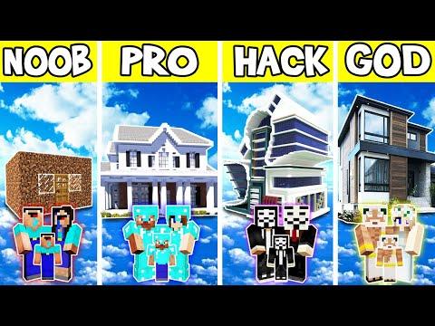 Minecraft: FAMILY SKY MODERN HOUSE BUILD CHALLENGE - NOOB vs PRO vs HACKER vs GOD in Minecraft