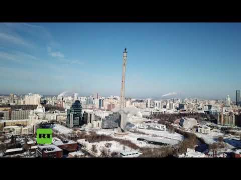 Dinamitan una enorme torre de televisión en Rusia