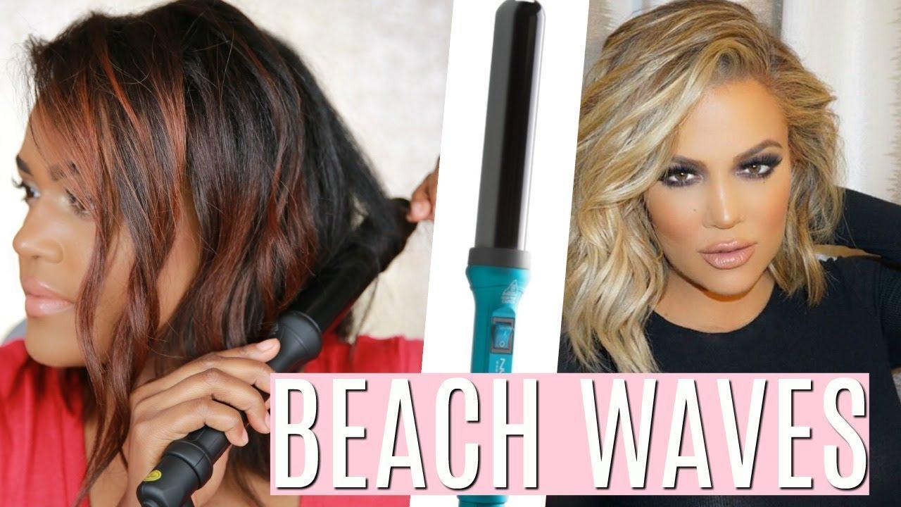 Khloe Kardashian Beach Waves Hair Tutorial W Nume 32mm Wand Youtube