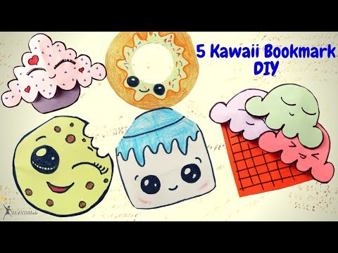 5 easy kawaii bookmark diys. DIY Ice Cream, Cookie, Cupcakes, Melon Bookmarks. Hand Made