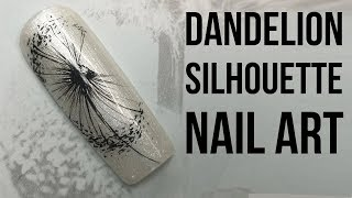 Hand Painted Dandelion Silhouette Nail Art