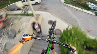 trial biking on a downhill bike