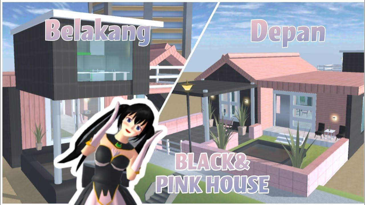 RUMAH SERBA BLACK PINK    BLACK & PINK HOUSE SPEED BUILD SAKURA SCHOOL SIMULATOR
