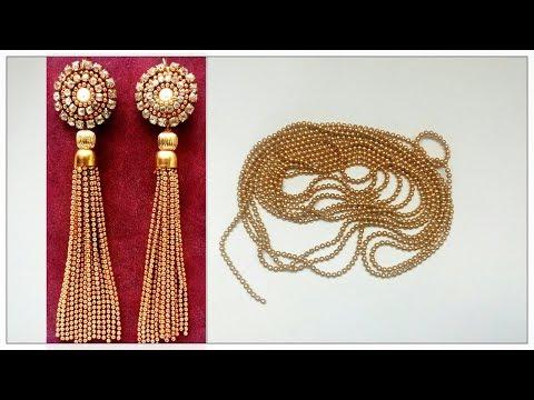 Tassel Earrings Using Silk Thread / Ball Chain Earrings | DIY Tutorial