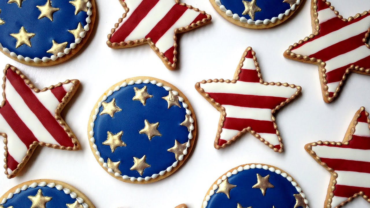 how to decorate fourth of july cookies with royal icing youtube - How To Decorate Cookies