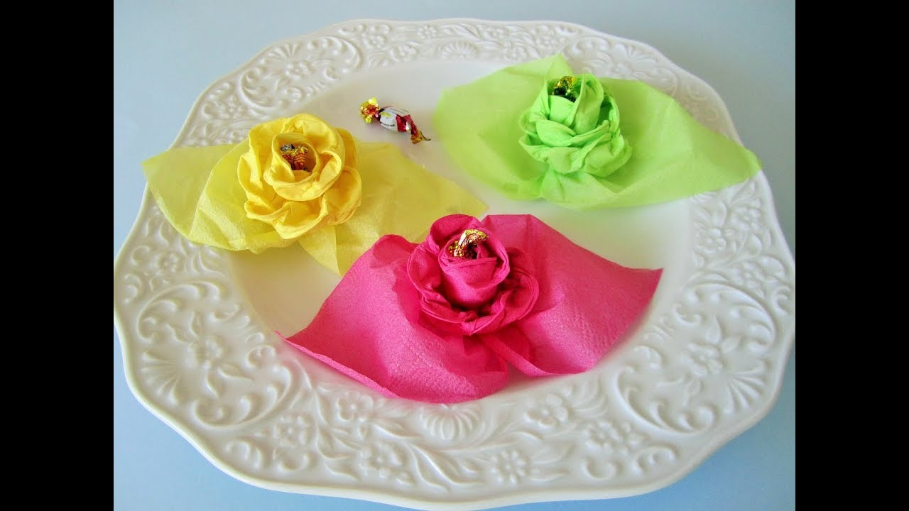 diy rosen aus servietten roses from napkins youtube. Black Bedroom Furniture Sets. Home Design Ideas