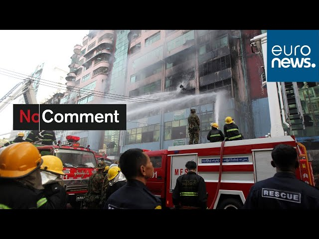 Yangon: Scores of people rescued from a blazing building in Myanmar's commercial hub