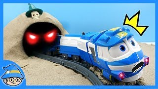 Stop the ghost in the cave. Robot train will be transforming.