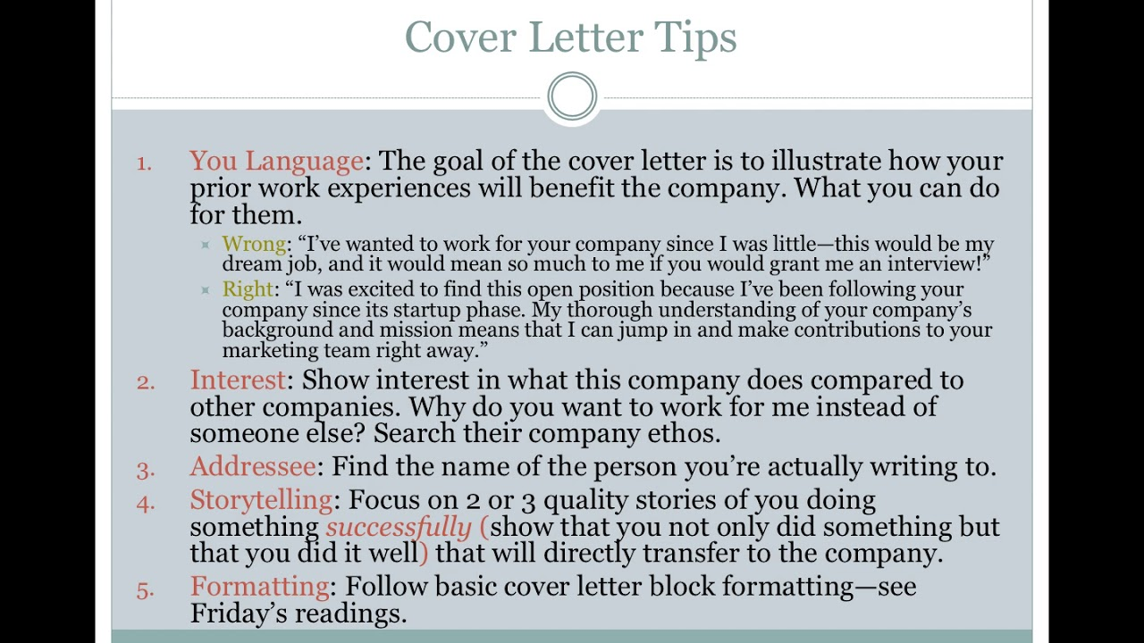 Technical Writing-- Cover Letter Lecture
