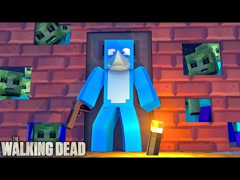 Minecraft THE WALKING DEAD - LITTLE KELLY IS TRAPPED BY ZOMBIES !! w/ Sharky