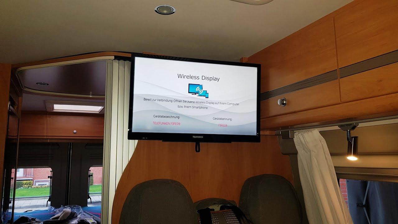 Wohnmobil Fernseher einbauen TV Halterung und Gerät Installation  TV-Halterung im Kastenwagen 9 Zoll