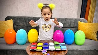 Giant Egg Hunt Surprise Toys for kids Pretend Play with Hafsa!!!
