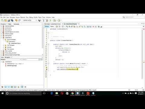 Implementing Linear Search algorithm using java