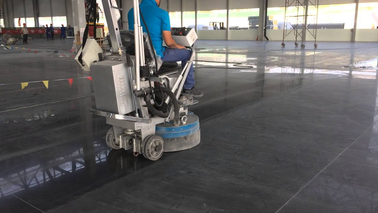 Concrete polishing machine youtube for Industrial concrete floor cleaning machines