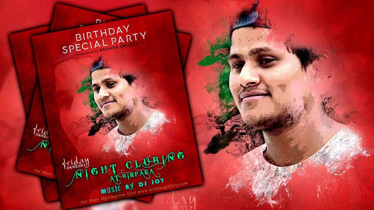 how to create a birthday party poster design in photoshop youtube