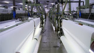 Fabric production at an automatic textile factory