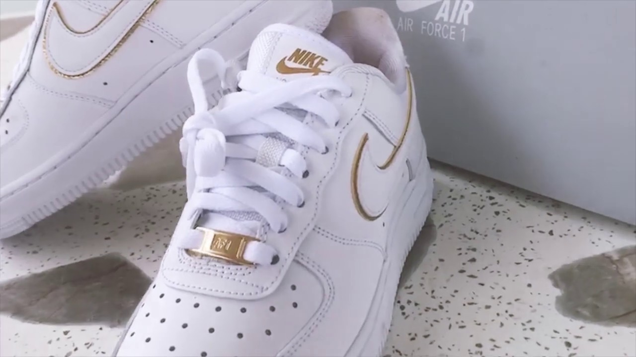 Nike Air Force 1 '07 Essential Metallic Gold Womens Shoes ...
