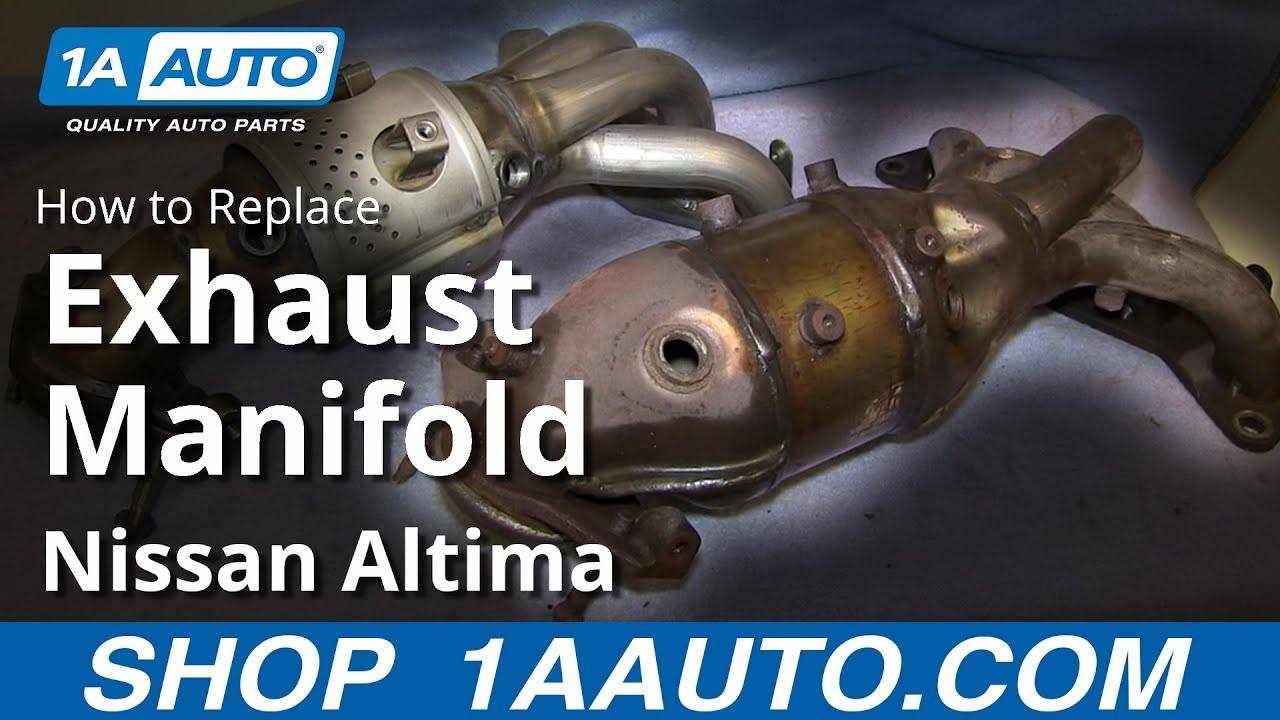 How to install replace exhaust manifold and catalytic converter 2002 06 nissan altima sentra youtube