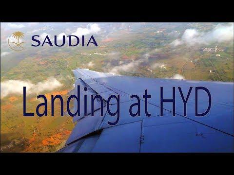 Saudi Arabian Airlines landing at Rajiv Gandhi International Airport (HYD) (VOHS)