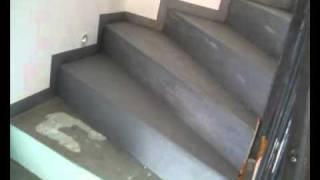 beton cire online réalisation par top design d'un escalier en béton ciré