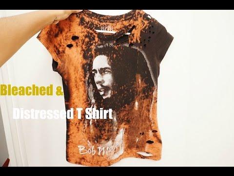 DIY:  Bleached & Distressed T Shirt Trend (Bob Marley T)