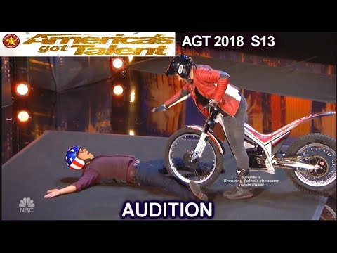 Kenny Thomas Motorcycle Stunt Performer WITH HOWIE MANDEL America's Got Talent 2018 Audition AGT