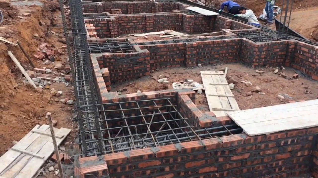 Làm móng cọc đài cho nhà 3 tầng (Making piles for 3-storey houses)