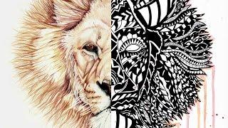 Polynesian + Zentangle LION [Art Collab with Schutt ART]
