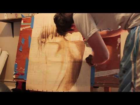Art with coffee and antique papers- Process