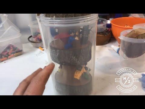 woodturning the batman lego & avengers pot- using lego wood & resin