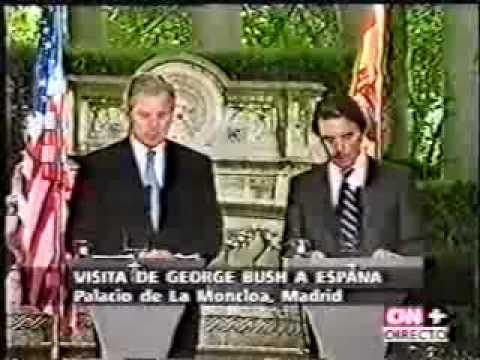 Primera visita de Bush a Europa. Rueda de prensa Aznar y  Bush (1/4)