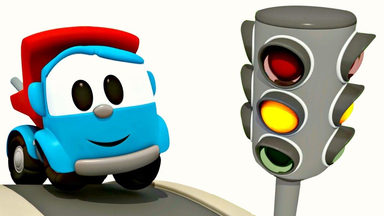 L o le camion curieux apprendre les couleurs dessin - Leo le camion benne ...