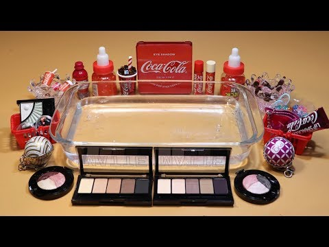 """Theme Series #16 """"Cocacola"""" Mixing Makeup And glitter Into Clear Slime! """"Cocacola Silme"""""""